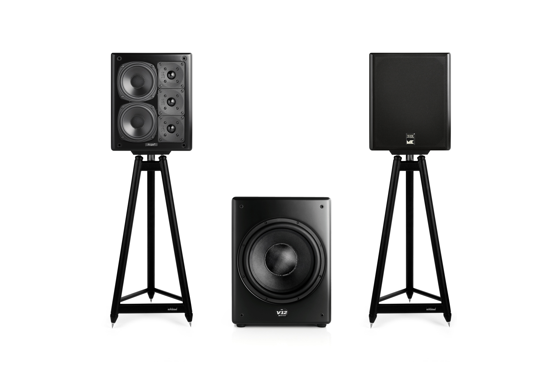 M&K Sound S150 speakers and V12 subwoofer
